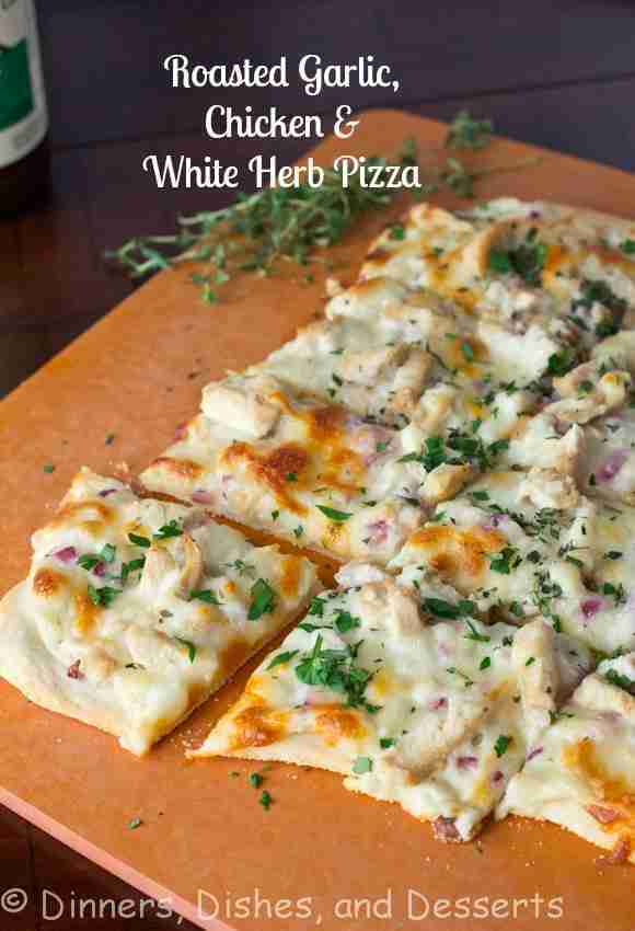 Roasted Garlic Chicken & Herb White Pizza
