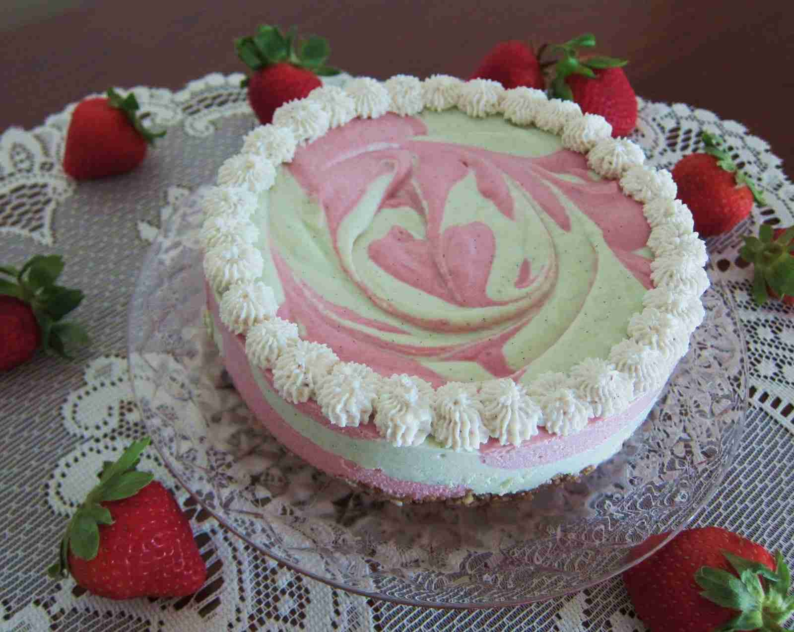 Stevia Strawberry Swirl Cheesecake