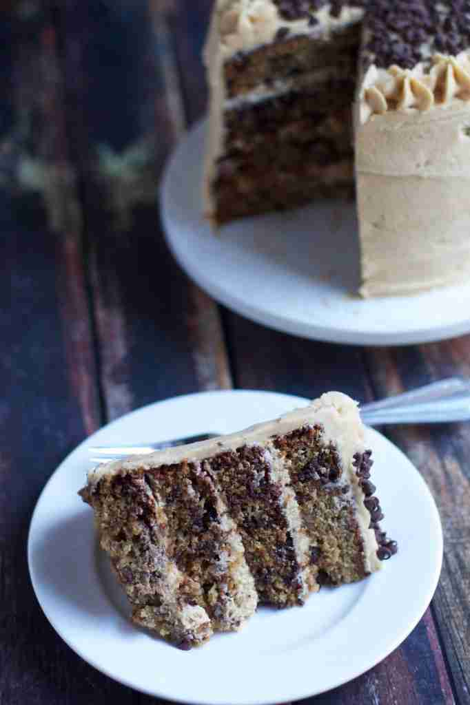 Banana Chocolate Chip Layer Cake with Peanut Butter Frosting - FoodVox ...