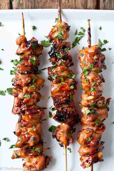Honey Porter Glazed Chicken Skewers