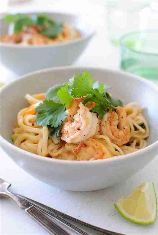 One-Pan Coconut Shrimp Noodle Bowls