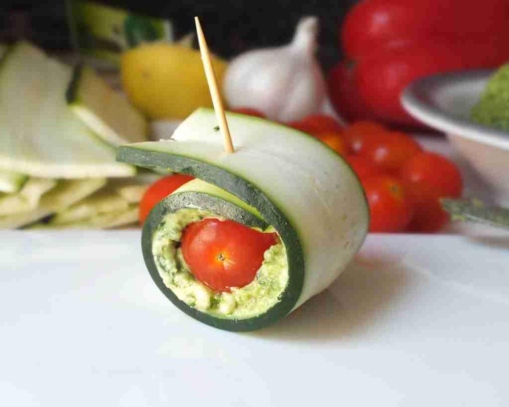Zucchini Pesto Roll-ups [Raw, Vegan, Gluten-Free, Dairy-Free]