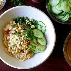 takeout-design and style sesame noodles with cucumber