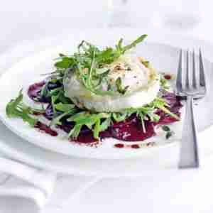 Marinated beetroot with grilled goat's cheese