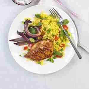 Hen tikka with spiced rice