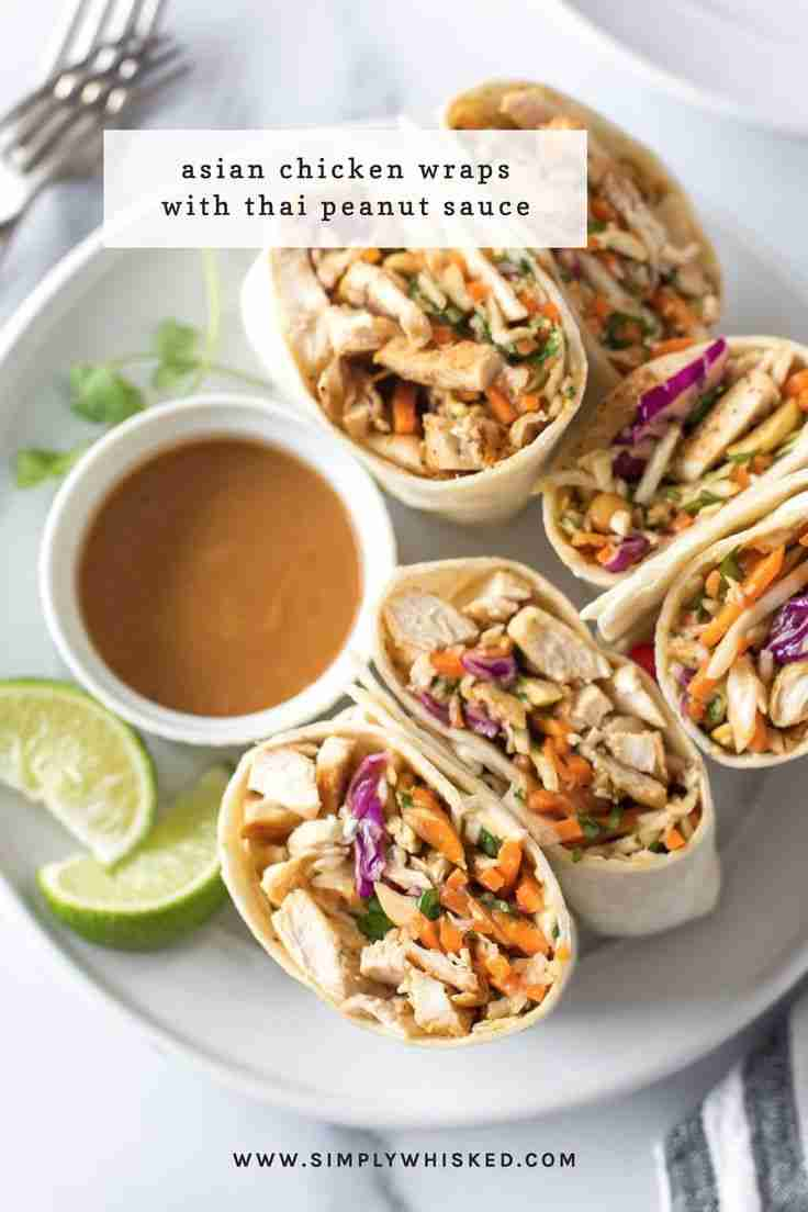 Asian Chicken Wraps with Peanut Sauce – Simply Whisked
