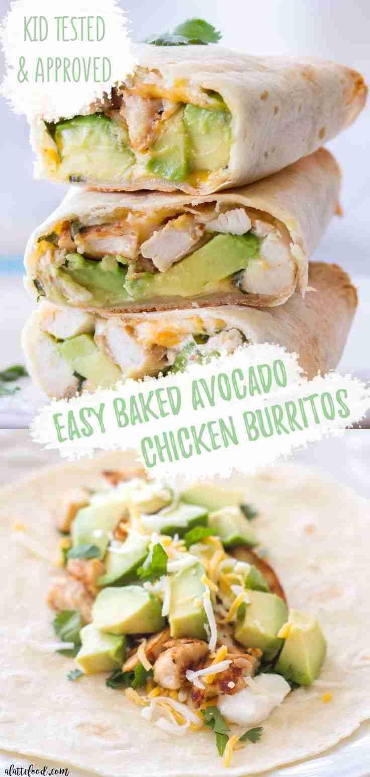 Baked Avocado Chicken Burritos