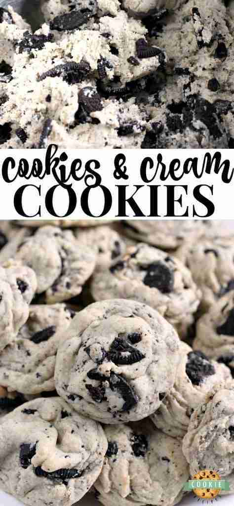 Cookies & Cream Cookies are made with pudding mix and Oreo cookies for a perfect…