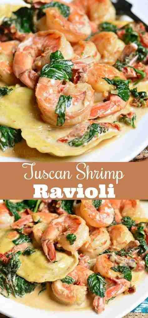 Creamy Tuscan Shrimp Ravioli