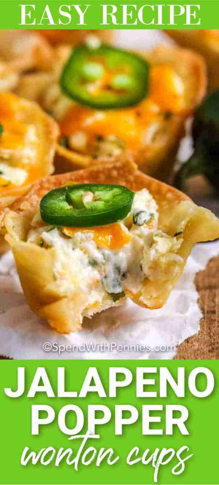 Crisp Wonton Cups are stuffed with jalapeno popper mix for the perfect party appetizer or snack!