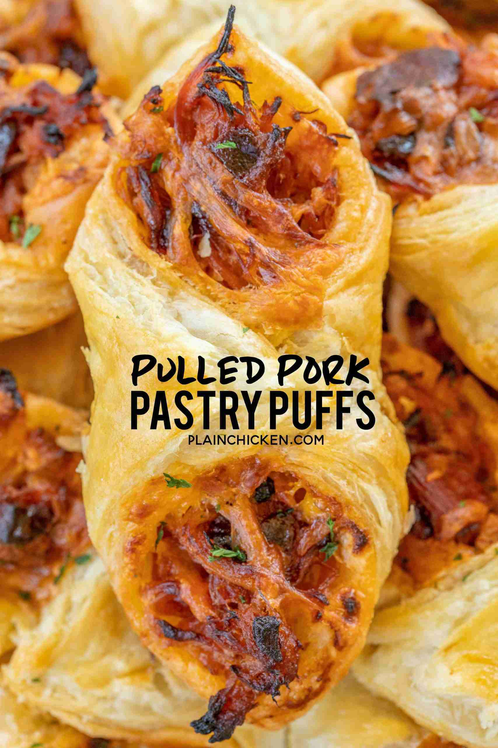 Pulled Pork Pastry Puffs – Football Friday – Plain Chicken