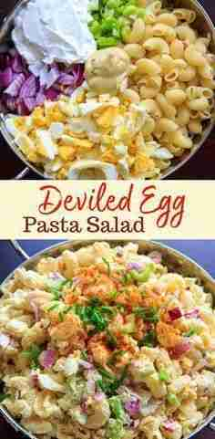 Deviled Egg Pasta Salad (Macaroni) – light on mayo, great for parties