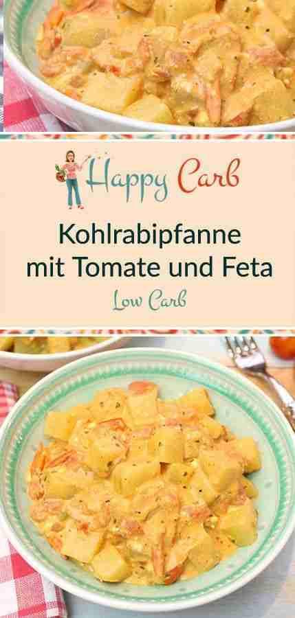 Kohlrabipfanne mit Tomate und Feta – Happy Carb Rezepte