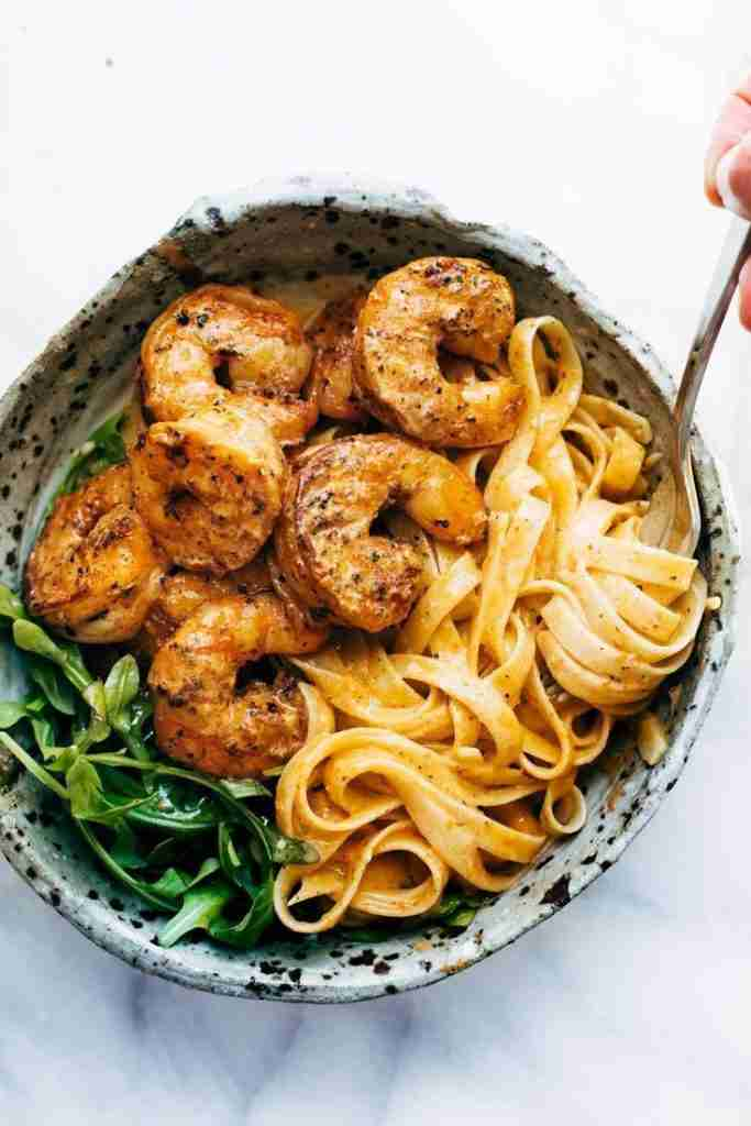 Red Pepper Fettuccine with Shrimp – Pinch of Yum