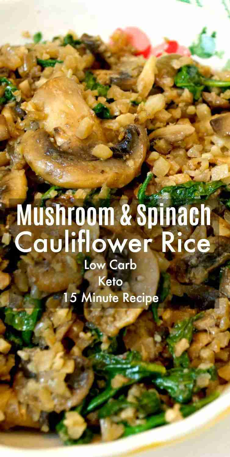 This Mushroom & Spinach Cauliflower Rice makes a easy Christmas side dish! Quick…