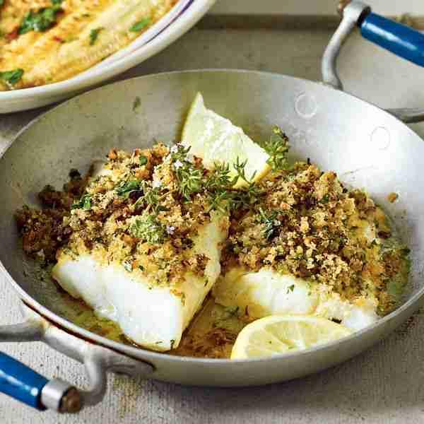 Schneller Fisch mit Kräuterkruste