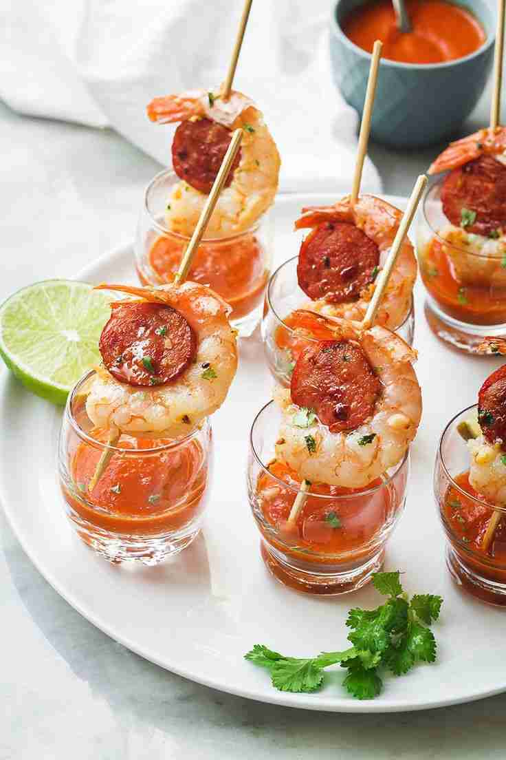 Shrimp and Chorizo Appetizers with Roasted Pepper Soup