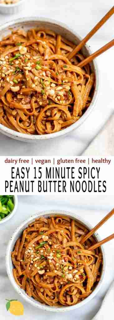 Spicy peanut butter noodles make the best easy vegan dinner recipe. They're healthy, gluten free, an