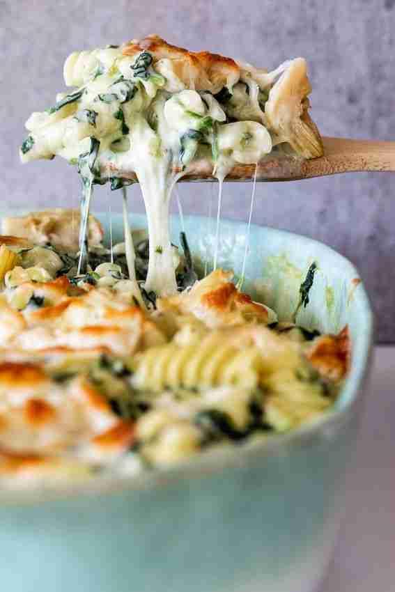 Spinach artichoke pasta bake – Simply Delicious
