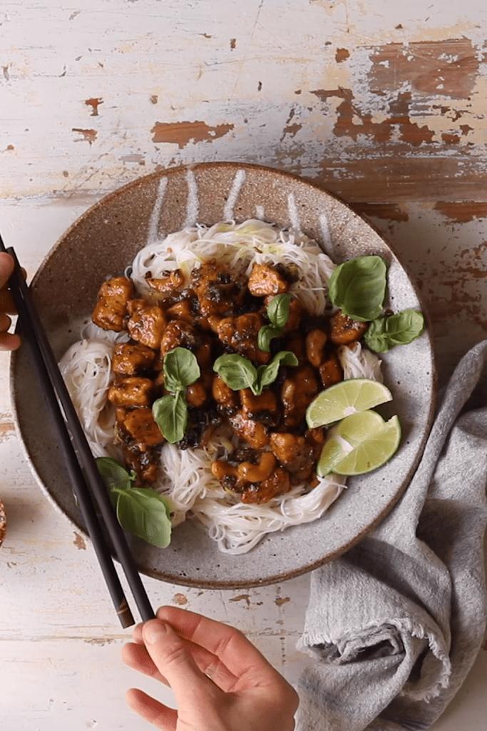 25 Minute Thai Black Pepper Chicken and Garlic Noodles