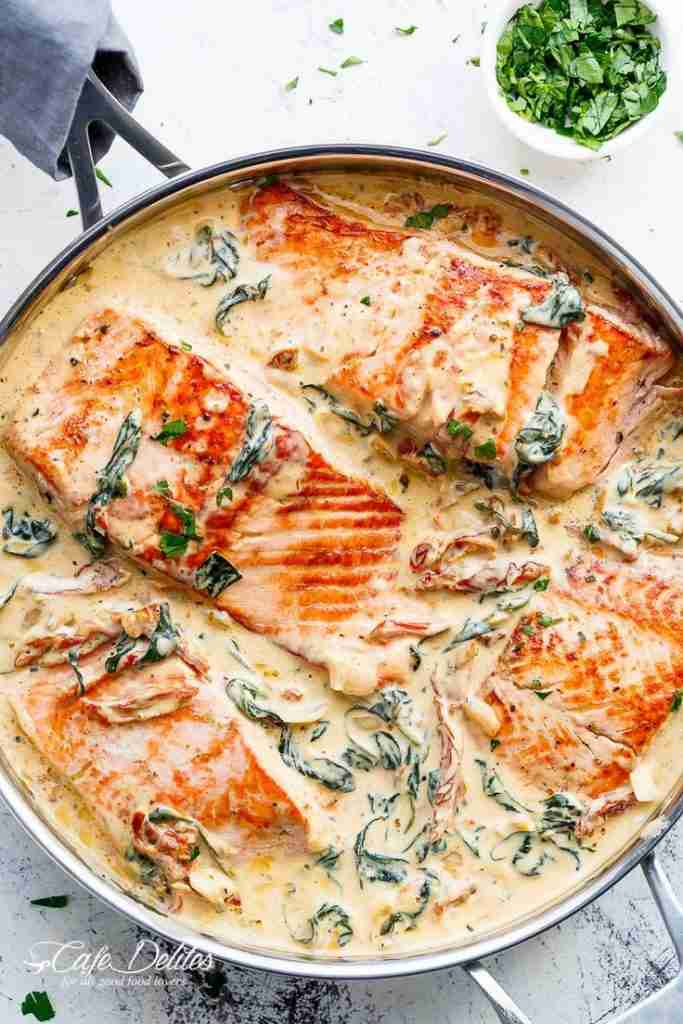 Creamy Garlic Butter Tuscan Salmon (OR TROUT) is such an incredible recipe! Rest…