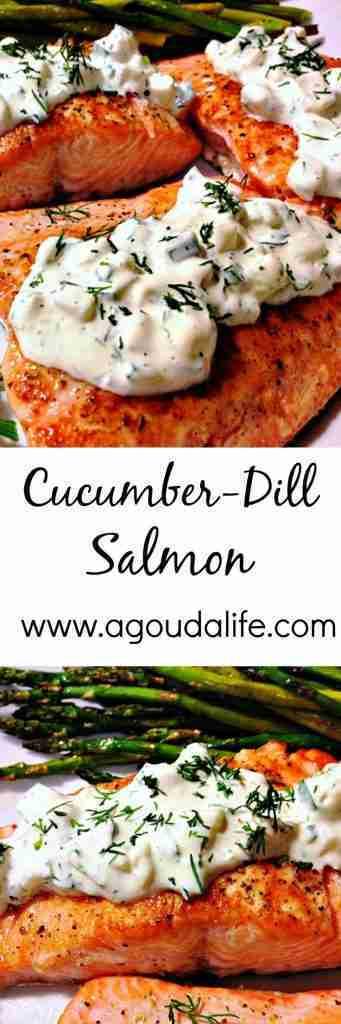 Cucumber Dill Salmon ~ pan seared + Greek yogurt sauce ~ A Gouda Life
