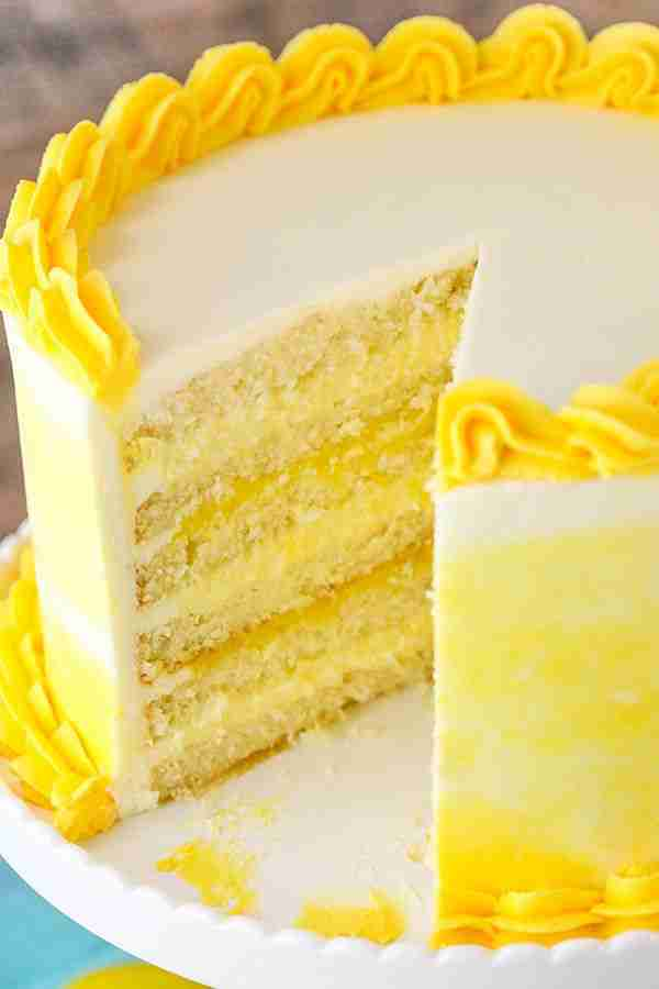 Easy Lemon Cake Recipe with Lemon Bavarian Cream