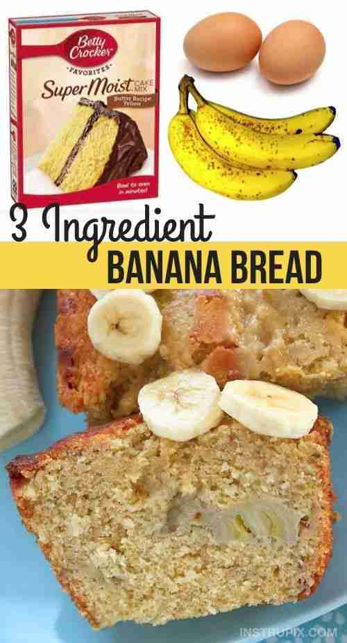 Easy Moist & Delicious Banana Bread (3 Ingredients)