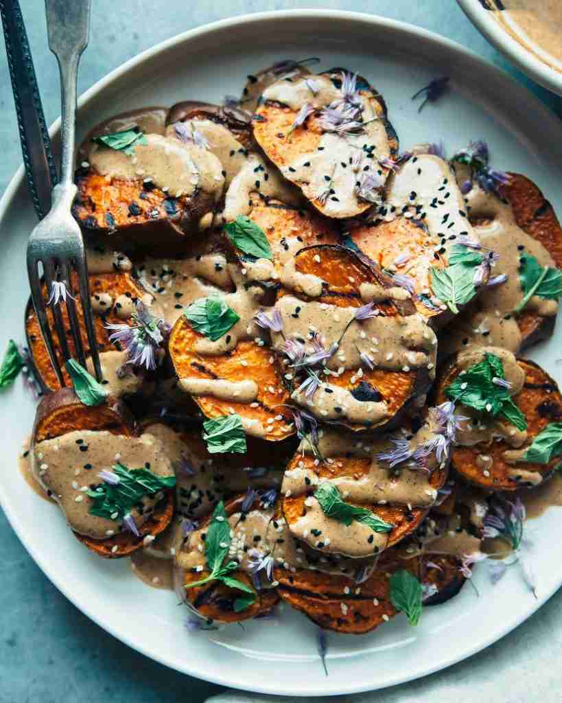 GRILLED SWEET POTATOES WITH CHILE LIME TAHINI SAUCE