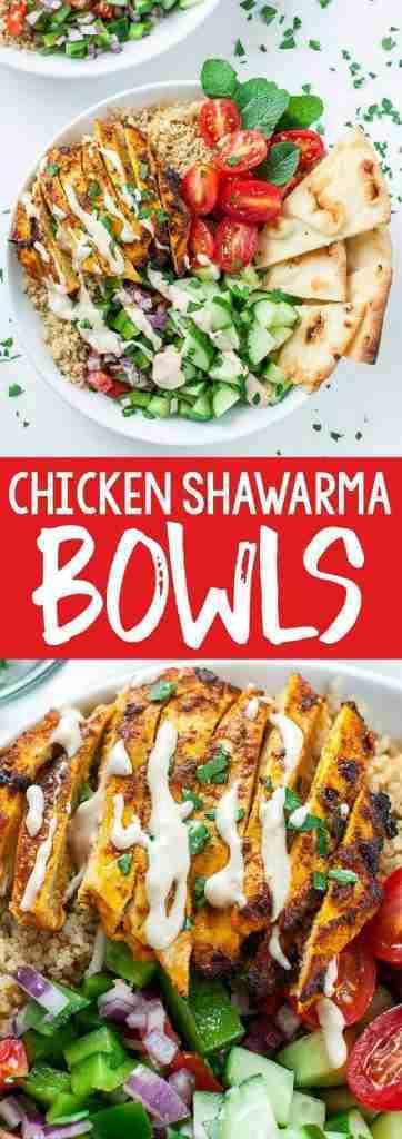 Healthy Chicken Shawarma Quinoa Bowls – Peas And Crayons