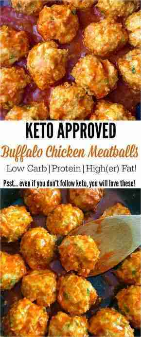 Keto Buffalo Chicken Meatballs- Low Carb, Higher Fat, Moderate Protein!