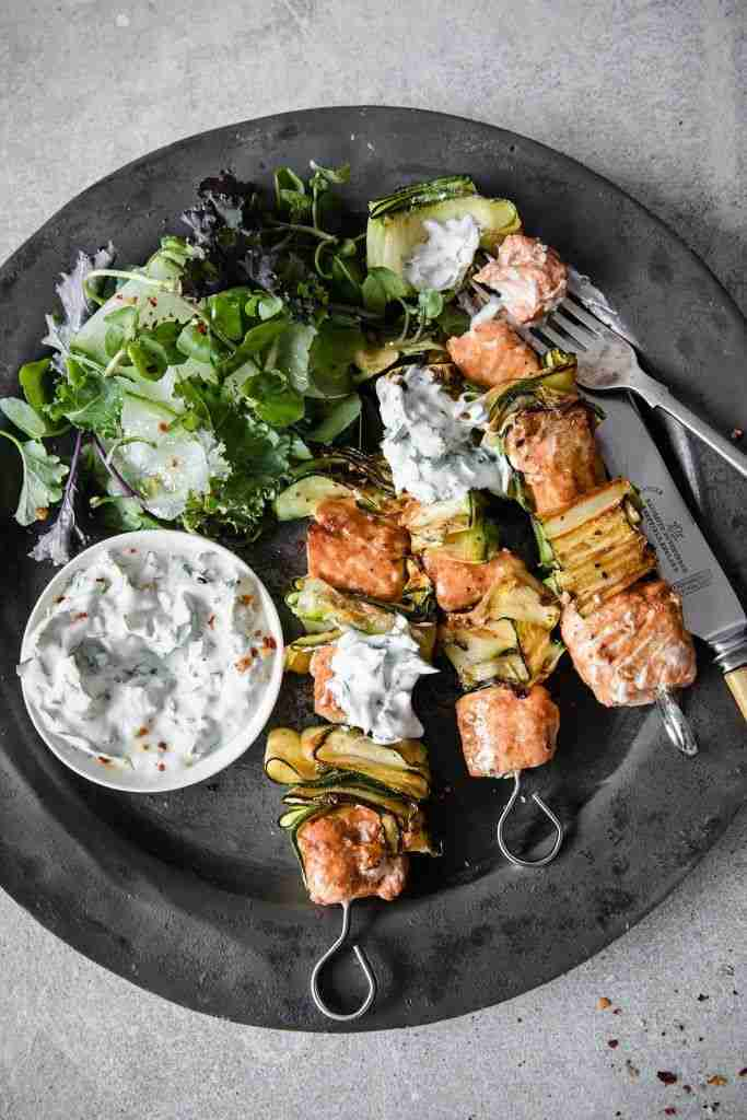 Paprika & Lime Salmon Kebabs With Herby Coconut Yoghurt | Recipe | Modern food, Recipes, Healthy rec