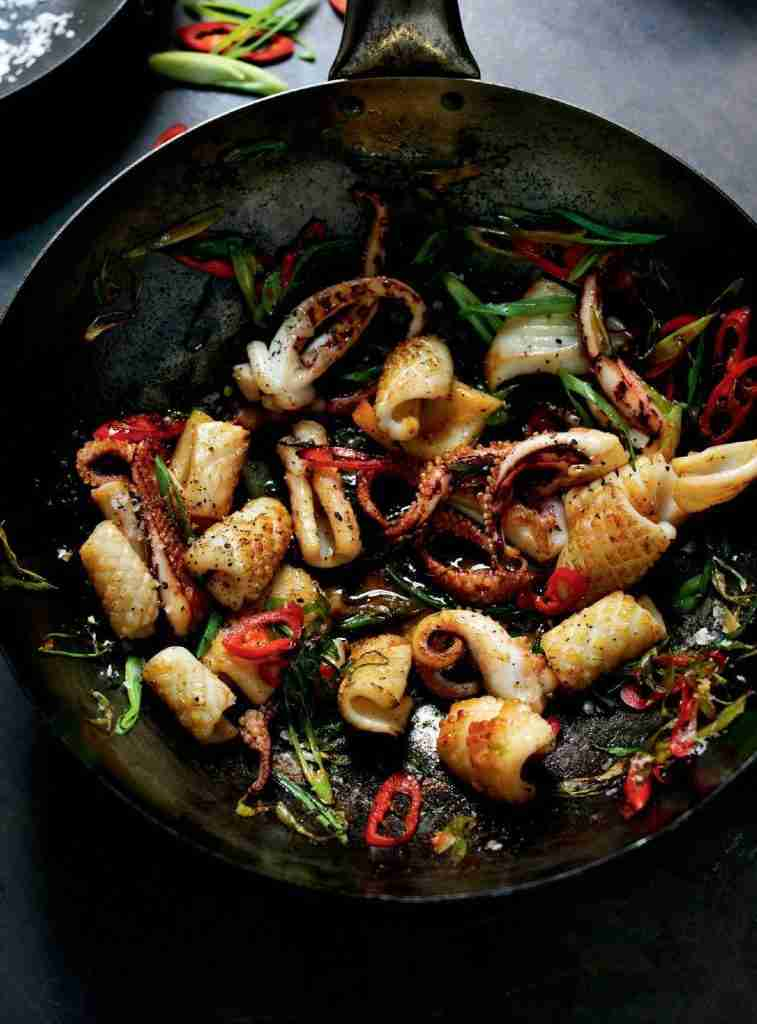 Stir-fried Salt and Pepper Squid with Red Chilli and Spring Onion – The Happy Foodie