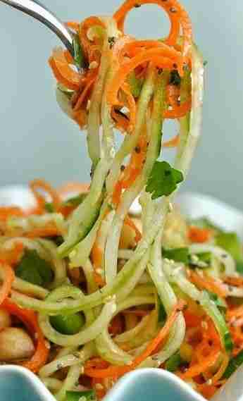 Thai Salad with Carrot and Cucumber Noodles – Peas and Crayons