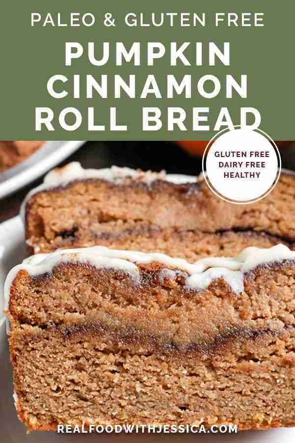 This Paleo Pumpkin Cinnamon Roll Bread is so easy to make and tastes incredible!…