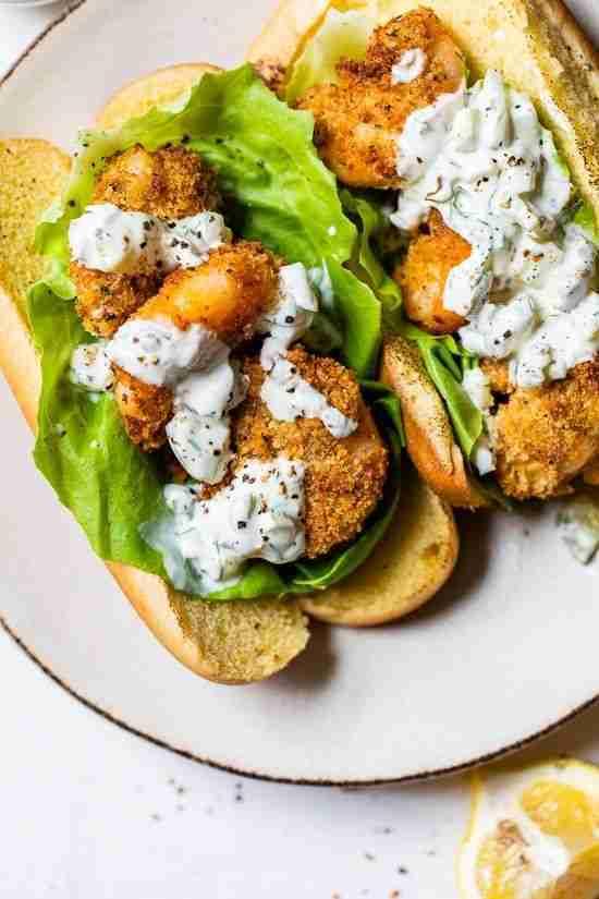 Air Fryer Fried Shrimp Sandwich with Tartar Sauce