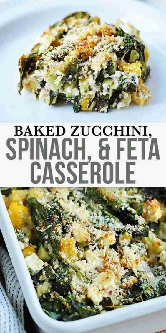 Baked Zucchini Spinach and Feta Casserole