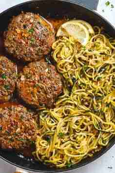 Cheesy Garlic Burgers with Lemon Butter Zucchini Noodles – Beef Burgers Recipe