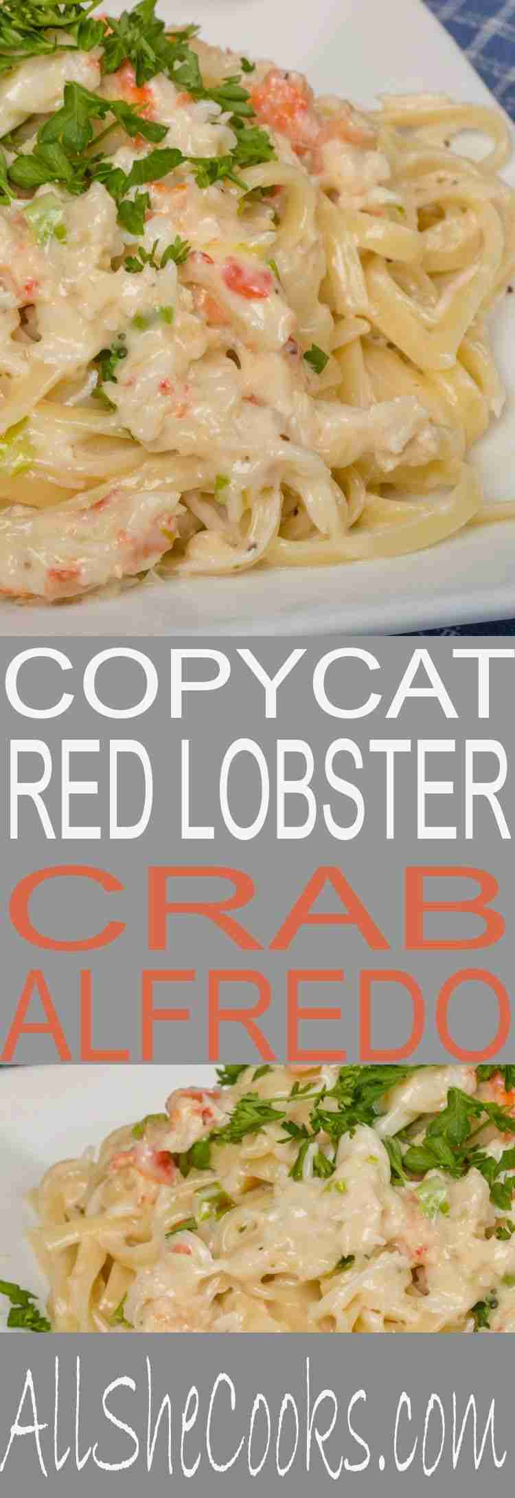Copycat Red Lobster Crab Alfredo | So good! | All She Cooks