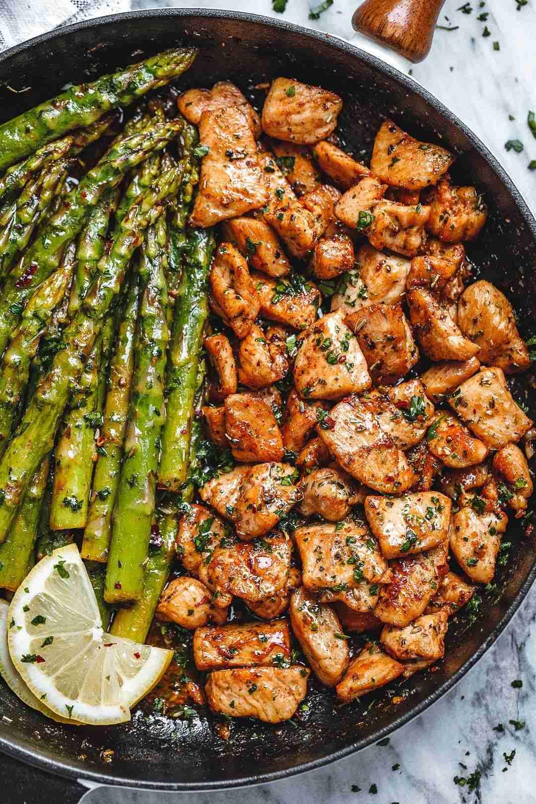 Garlic Butter Chicken Bites and Asparagus Recipe – Best Chicken and Asparagus Recipe