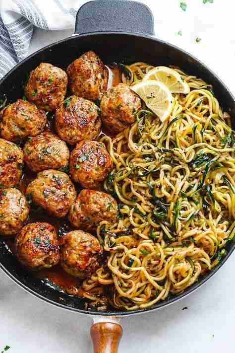 Garlic Butter Turkey Meatballs with Lemon Zucchini Noodles Recipe – Turkey Meatballs Recipe