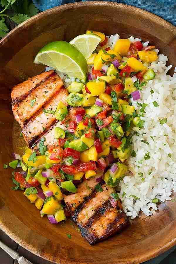Grilled Salmon with Mango Salsa & Coconut Rice – Cooking Classy