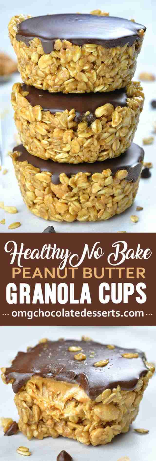 No Bake Peanut Butter Granola Cups, great vegan snack
