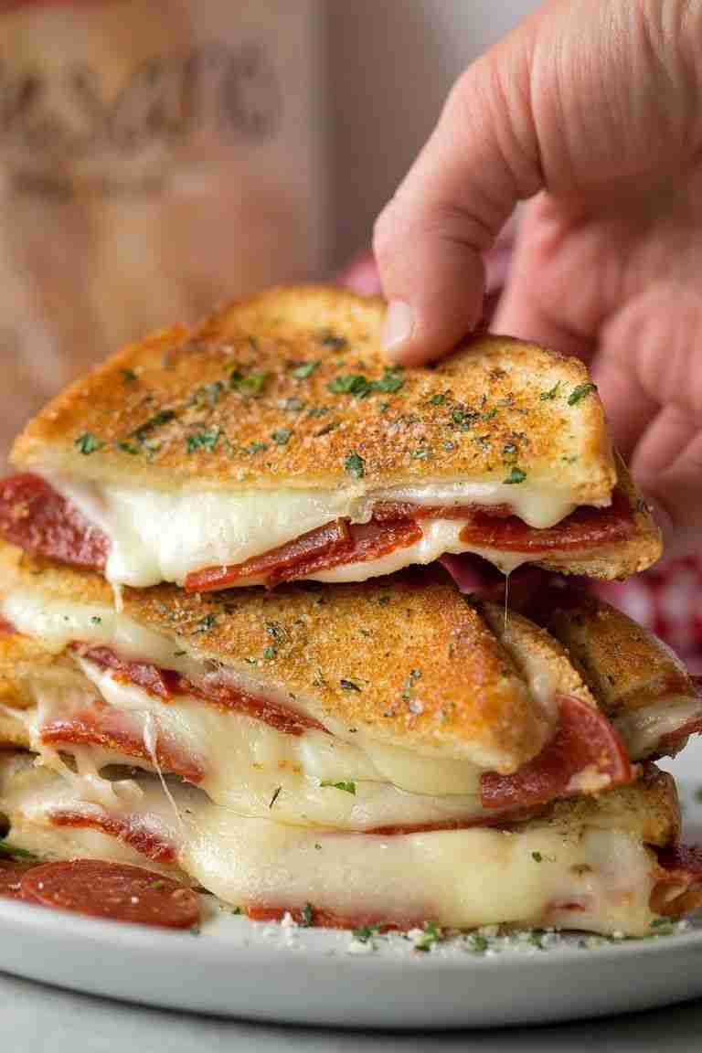 Pepperoni Pizza Grilled Cheese Sandwich | Lil' Luna