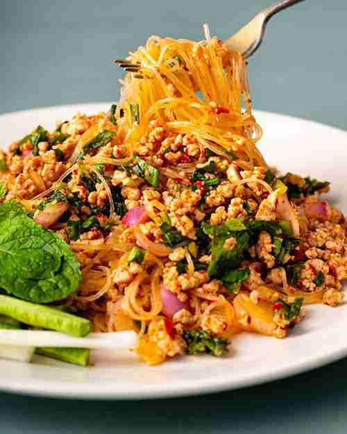 Thai Spicy Pork Glass Noodle Salad (Laab Woonsen) – Marion's Kitchen