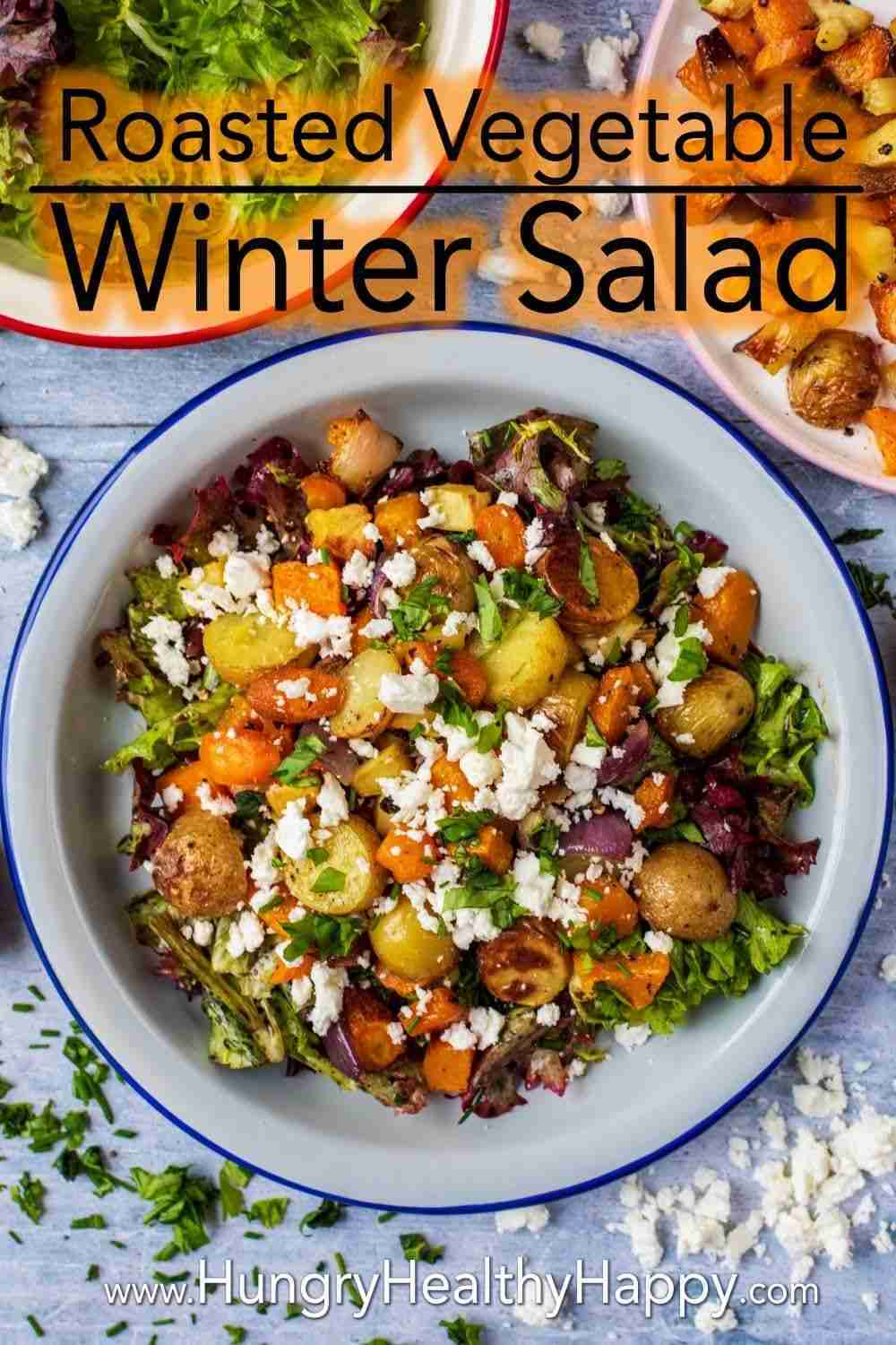 This Roasted Vegetable Winter Salad is a salad for people that think salads aren't filling or they think they are boring. It's the salad for people that think they don't like salads! Warm and hearty – perfect for a cold winter day.
