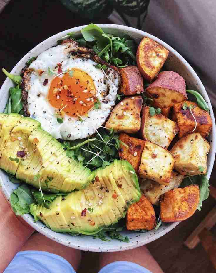 Greens, Sweet Potato, and Fried Egg Bowl recipe   The Feedfeed