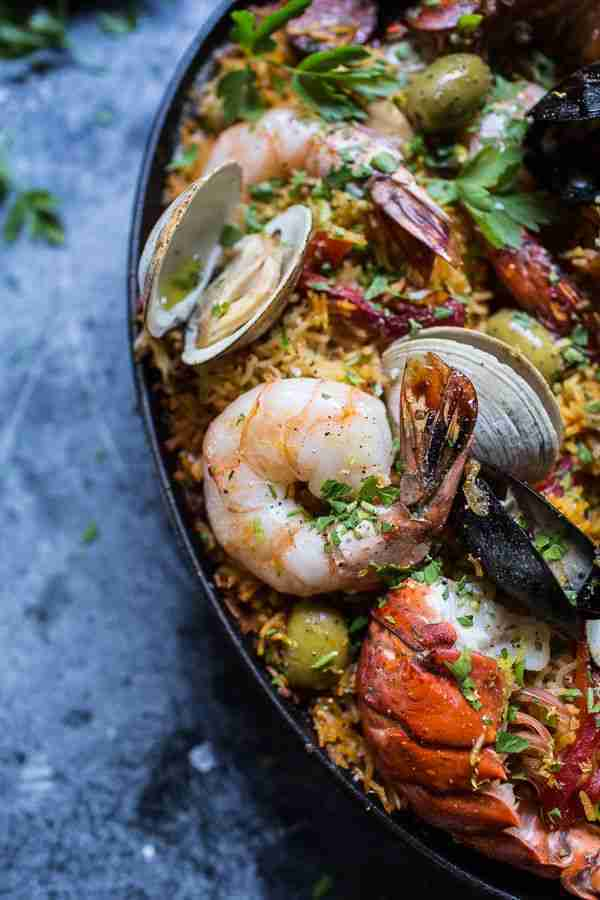 Skillet Grilled Seafood and Chorizo Paella | HBH