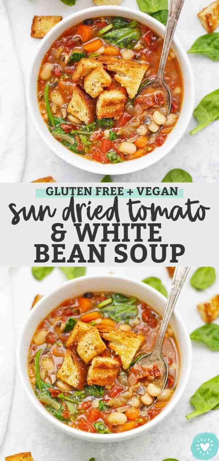 Sun Dried Tomato White Bean Soup (Gluten Free + Vegan)
