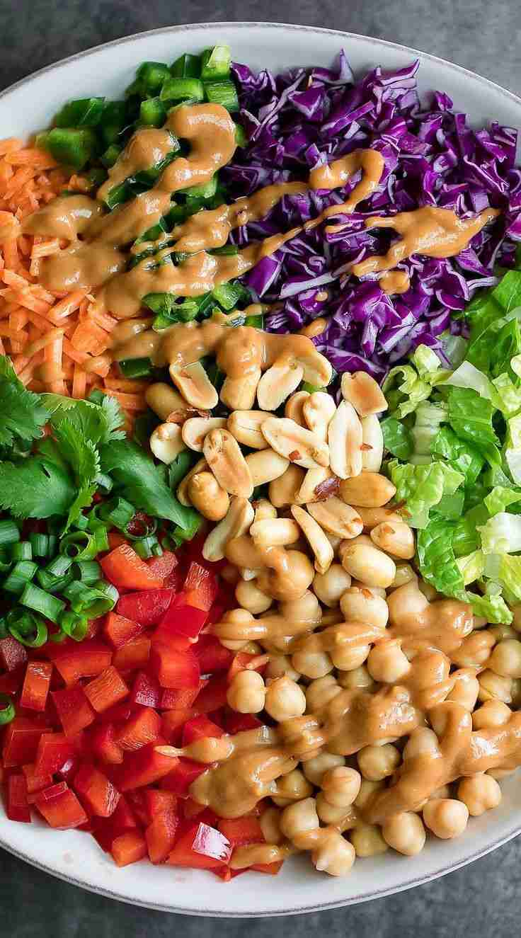 Thai Chickpea Salad with Peanut Dressing – Peas And Crayons